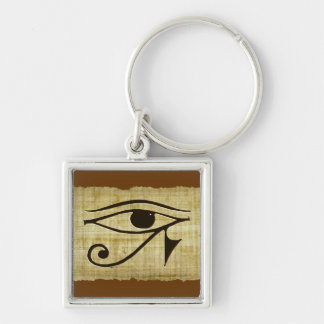 WADJET EYE OF HORUS on Papyrus Gifts Silver-Colored Square Keychain
