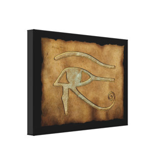 WADJET EYE OF HORUS on Papyrus Print Gallery Wrap Canvas