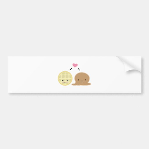 waffle and ice cream love car bumper sticker