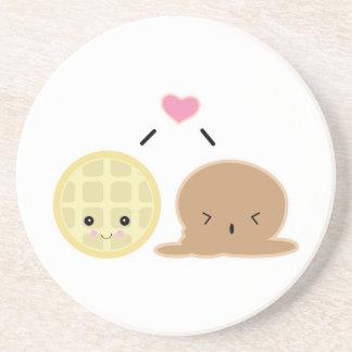 waffle and ice cream love coaster