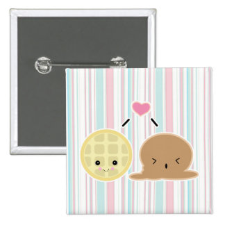 waffle and ice cream love pinback button