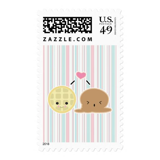 waffle and ice cream love postage stamp