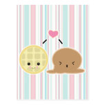waffle and ice cream love postcards
