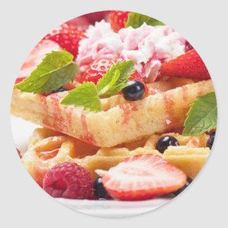 Waffle cake with fresh berry fruit classic round sticker