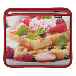 Waffle cake with fresh berry fruit sleeves for iPads