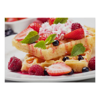 Waffle cake with fresh berry fruit print