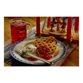 Waffles and beverage poster