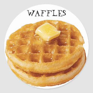Waffles on Round Stickers