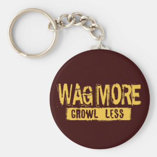 WAG MORE GROWL LESS BASIC ROUND BUTTON KEYCHAIN