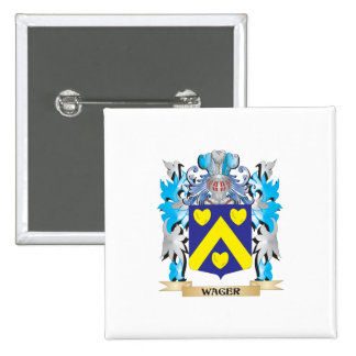 Wager Coat of Arms - Family Crest 2 Inch Square Button