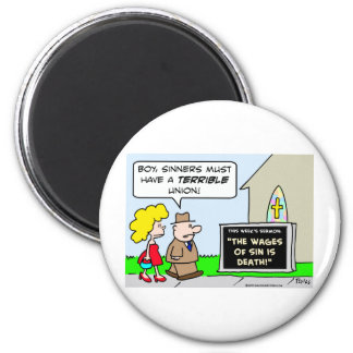 wages sinners death union 2 inch round magnet