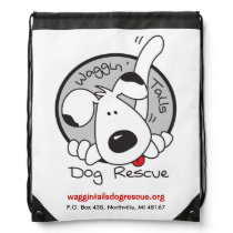 Waggin' Tails Dog Rescue Logo Drawstring Bag