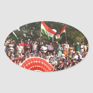 WAGHA Border: Happy Indians n Pakistanis Oval Sticker