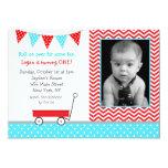 """Wagon Birthday Party Invitations 5"""" X 7"""" Invitation Card"""
