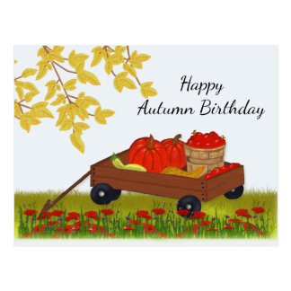 Wagon Filled with Fall Produce, Autumn Birthday Postcard