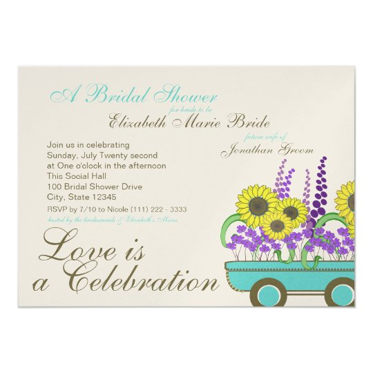 Wagon Full of Flowers Bridal Shower Card