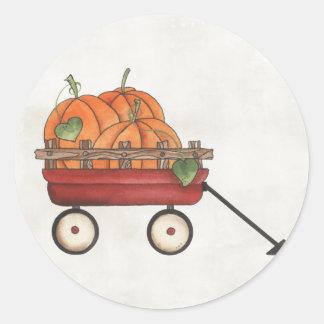 Wagon full of Pumpkins Round Sticker