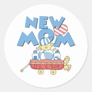 Wagon New Mom It's a Boy Classic Round Sticker