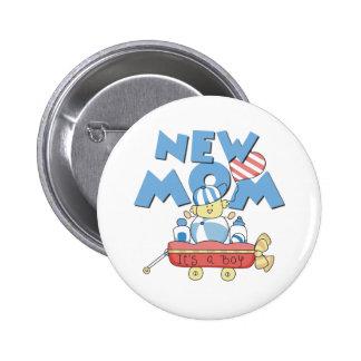 Wagon New Mom It's a Boy Pinback Button