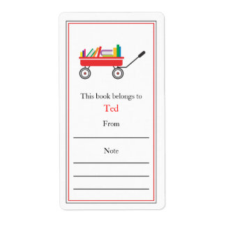 Wagon of Books Bookplate Custom Shipping Labels