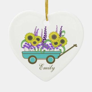 Wagon of Flowers Bridesmaid Ceramic Ornament
