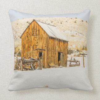 Wagon, Outhouse, Barn, Winter Snow, Bannack Throw Pillow
