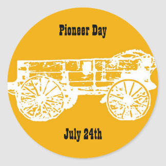 wagon, Pioneer Day, July 24th Classic Round Sticker