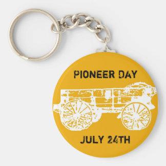 wagon, Pioneer Day, July 24th Basic Round Button Keychain