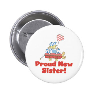 Wagon Proud New Sister It's a Boy 2 Inch Round Button
