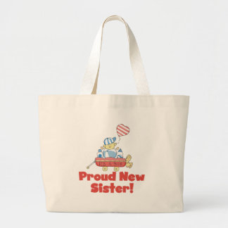 Wagon Proud New Sister It's a Boy Large Tote Bag
