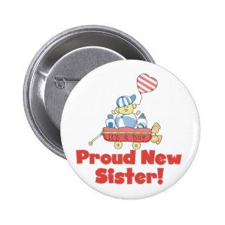 Wagon Proud New Sister Tshirts and Gifts Pin