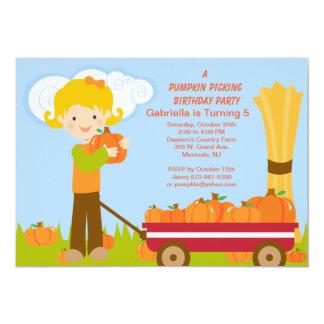 Wagon Pumpkin Picking Birthday Party Invitation