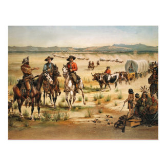 Wagon Train vintage painting Postcard