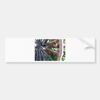 Wagon Wheel and flowers 2 Car Bumper Sticker