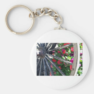 Wagon Wheel and flowers 2 Key Chain