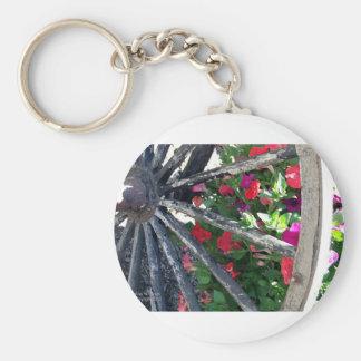 Wagon Wheel and flowers 2 Keychain