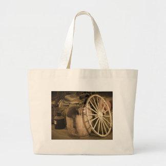 Wagon Wheel And Saddle Jumbo Tote Bag