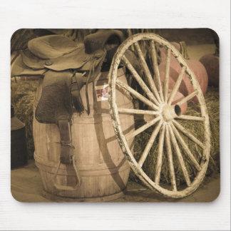 Wagon Wheel And Saddle Mouse Pad