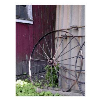 Wagon Wheel and Silo Postcard