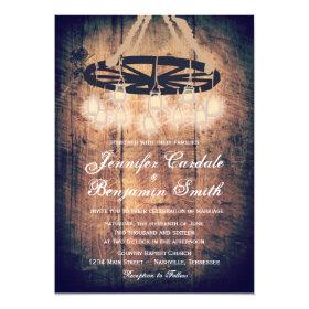 Wagon Wheel Mason Jar Chandelier Wedding Invites