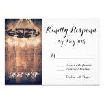 Wagon Wheel Mason Jar Chandelier Wedding RSVP Card