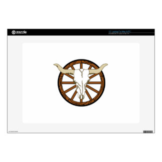 """WAGON WHEEL SKULL DECALS FOR 15"""" LAPTOPS"""