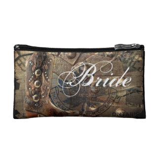 Wagon Wheel western cowboy wedding bride Makeup Bag
