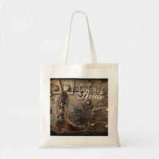 Wagon Wheel western cowboy wedding bride Tote Bag