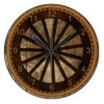 Wagon Wheel Wood-Look Wallclocks