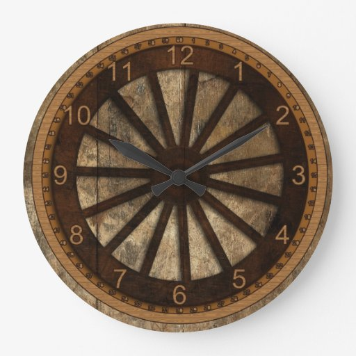 Wagon Wheel Wood Look Wallclocks Zazzle