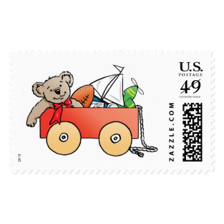 wagon with toys for a boy postage stamp