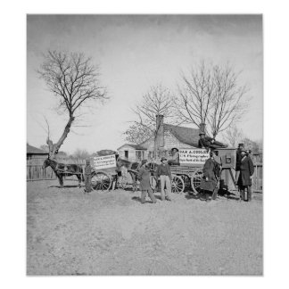Wagons and camera of Sam A Cooley Photographer Poster