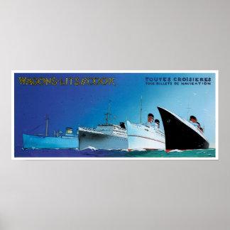 Wagons-Lit // Cook - Vintage Ship Advertisement Poster