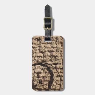 Wagonwheel on Brick Wall Bag Tag